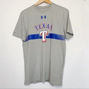 Under Armour Texas Rangers T Shirt Gray Blue Logo